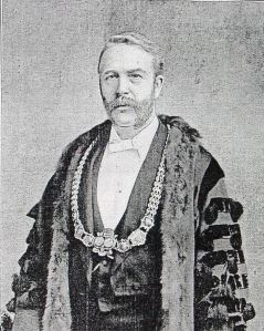 William Adcock, Mayor of Dover 1895-96 wearing the Mayor's chain given by Sir William Bodkin. Dover Library