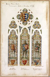 Edward Astley window design by H W Lonsdale 1892 - John de Beauchamp Lord Warden 1359-1360, William Latimer, Lord Warden 1374 and Edmund of Langley, 1st Duke of York, 1st Earl of Cambridge, Lord Warden 1376-1381 - Dover Museum