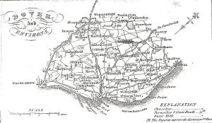 Dover & Environs 1828 - Eythorne near the location of Tilmanstoen collier is underlined. Dover Library