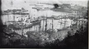 Granville Dock circa 1890, with LCDR packet boats tied up. Dover Library