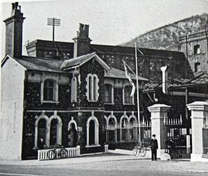 Oil Mills entrance on Limekiln Street commandered by Royal Navy. David Collyer
