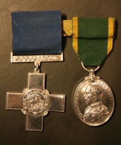 Reg Maltby's George Cross and Empire Medal. Thanks to Mike Maltby