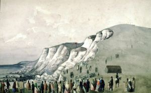Demolition of Round Down Cliff 26 January 1843 painted by Samuel Mackie - Dover Mu