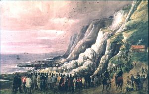 Round Down Cliff following it been 'blown' out of the way of the South Eastern Railway Company's London-Dover railway line on 26 January 1843 painted by William Burgess - Dover Museum