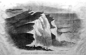 Round Down Cliffprior to being blown up on 26 January 1843 - Dover Museum
