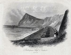 Shakespeare Beach railway viaduct and Shakespeare Cliff by J Shury 23.02.1844