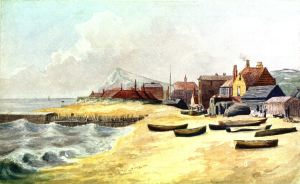 Archcliffe Beach - Pier Houses by Samuel Mackie 1842. Dover Museum