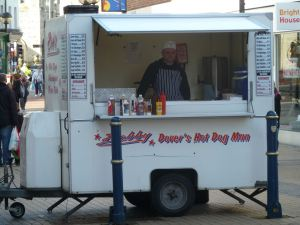 Bob Royston's Hot Dog stall now under new management. Biggin Street 2014