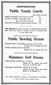 Corporation Bowling Greens, Maison Dieu Gardens and River Recreation Ground - 1938