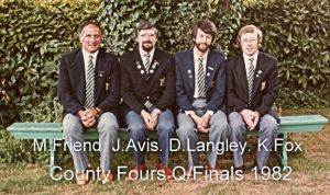 Buckland Mill Bowling Club team, Messrs Friend, Avis, Langley and Fox, who made it to the County finals in 1982. Gateway Bowling Club