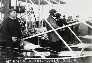 Charles Rolls awaiting to take off for his memorable flight 2 June 1910. Dover Library.