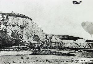 Charles Rolls postcard (damaged) back over England 2 June 1910. Dover Library