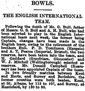 Donald Campbell - Captain of England. Times Saturday 06.07.1929