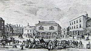 Market Square with the Town or Court Hall in the centre 1822 by John Eastes Youden given by E E Pain. Dover Museum