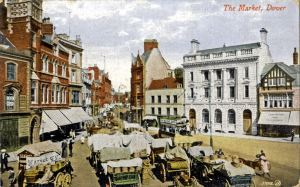 Market Square c1905 showing the outside market. Dover Museum