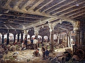 Dover Market under the Court Hall by William Burgess. Of note, the Court Hall was demolished in 1861. Dover Museum