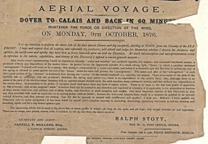 Ralph Stott details of the proposed flight 09.10.1876. Dover Musem