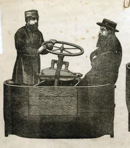Ralph Stott's Flying machine with passengers indicating its size, 1876. Dover Museum