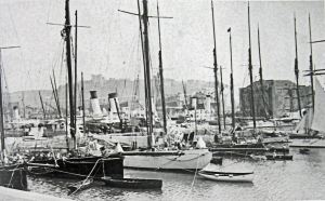 Royal Cinque Ports yacht Club's yachts in Granville Dock c 1900