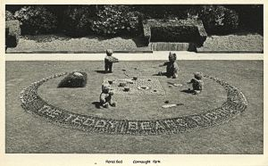 Flower beds at Connaught Park - Teddy Bears Picnic theme 1950s - Dover Museum