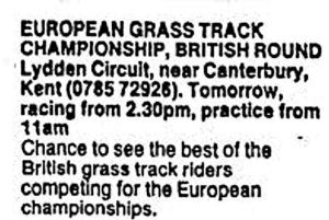 Advert for the European Grass Track Championship at Lydden 1984