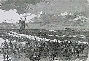 Attacking force near Guston - Illustrated London News 10.04.1869. Dover Library