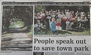 1,500 sign Cllr Dean Watson's petition over the neglected state of Connaught Park. Dover Mercury  11.04.2002