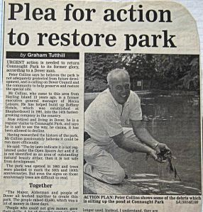 Connaught Park - Plea for restoration by Peter Collins 07.09.2000. Dover Mercury