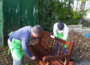 C PAG volunteers Pat Sherratt and Barry Wadsworth-Smith refurbishing a seat - Colette Boland 2013