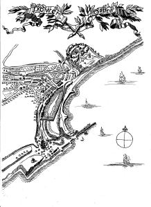 Dover and harbour circa 1590-1600 re-drawn by Lynn Candace Sencicle