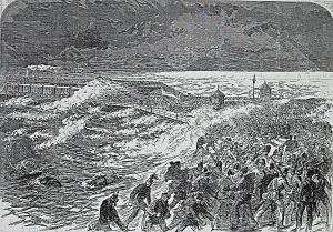 Scene of the wreck of the Ferret. Illustrated London News 10.04.1869 Dover Lbrary