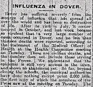 Influenza newspaper report condemning the council's stance 1 November 1919. Dover Express