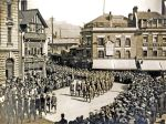 Soldiers marching through Market Square World War I - Dover Museum