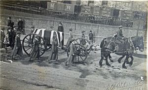 Spanish 'Flu' epidemic 1918 - Postcard of a victim's funeral procession by J G Whorwell, 7 Bench Street. Thanks to Eveline Robinson