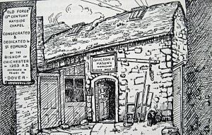 St Edmund's Chapel - as a whitesmiths workshop 1939 drawing by Mabel Martin