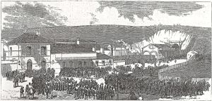 Volunteers arrival at Dover Priory Station Illustrated London News 04.05.1867. Dover Library