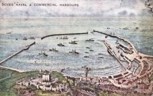 Postcard of the Naval and Commercial Harbour c 1914 giving an immaginative view.