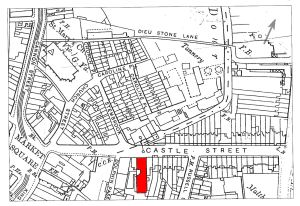 Map of Castle Street c1900 - location of Hills coachworks hilighted in red