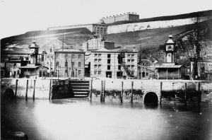 Clock Tower (east) and Compass Tower (west) on Crosswall c1870. Dover Museum