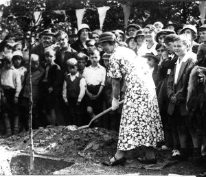 Connaught Park Golden Jubilee 12.07.1933 Mayoress Mrs Morecroft planting a commeration tree. Dover Museum