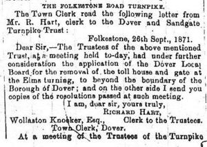 Dissolution of the Folkestone Road Turnpike - 29.09.1871