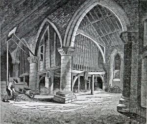 Dover Priory Chapel Interior c 1850.  Dover Library