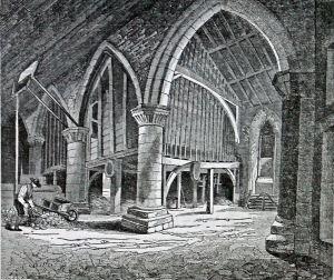 Dover Priory Chapel Interior c 1850.  Dover Library