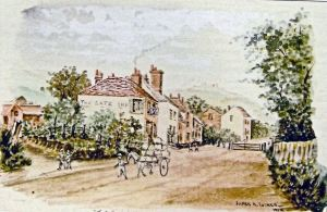 Gate Inn, Crabble Hill 1869 by James M Tucker painted 1912, shows the toll house further down the hill from the inn - Dover Museum