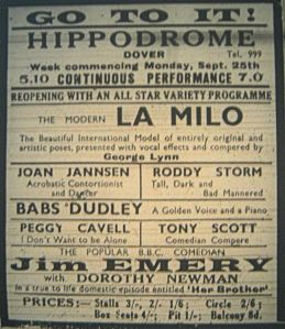 The last advert for the Hippodrome, the show that was booked but the theatre had been destroyed on the morning of 25 September 1944.