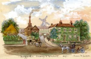 Kingsford Brewery , Buckland 1847 by James Tucker painted c1900. Dover Museum