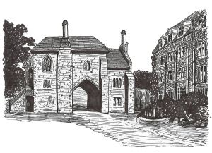 Priory Gatehouse from a drawing by E Piper by Lynn Candace Sencicle