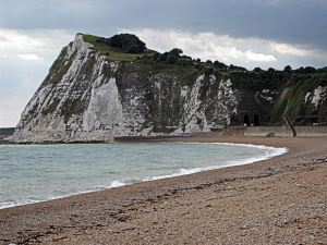 Shakespeare beach with cliff behind, where most ships were built in Dover. LS