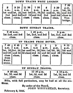 South Eastern Railway Company Timetable for Dover - February 1844
