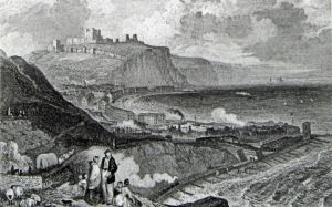 Train running alongside Shakespeare Beach c 1840